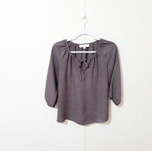 Ann Taylor LOFT brown polka dot blouse